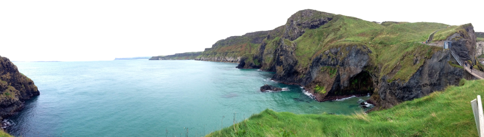 View from across Carrick-a-Rede Rope Bridge, Northern Ireland