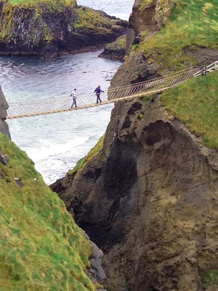 Crossing Carrick-a-rede Rope Bridge, Northern Ireland