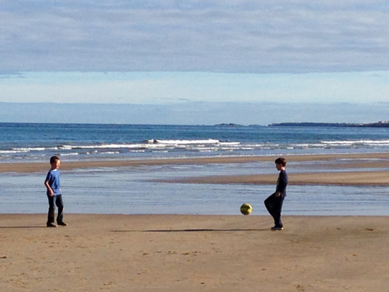 Football on Castlerock Beach